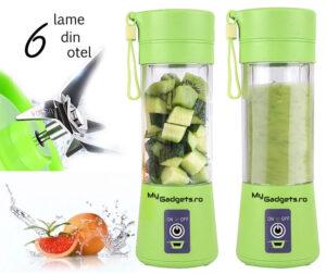 blender portabil verde cu 6 lame din otel